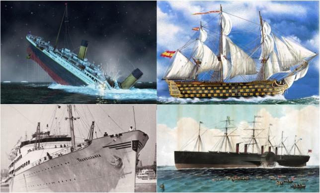 Titanic, Santissima Trinidad, Great Eastern, Motonava Transilvania,